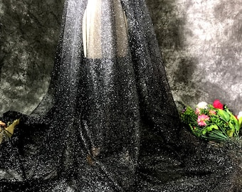 Black Bling Sparkle Tulle Lace,Glitter Fabric By The Yard