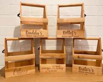 Wooden box with individual & double-sided engraving / men's handbag / garden box