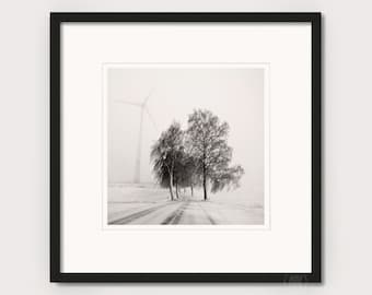 """Art photography """"WINTER ROAD"""" - photo print unframed or canvas print, different sizes"""