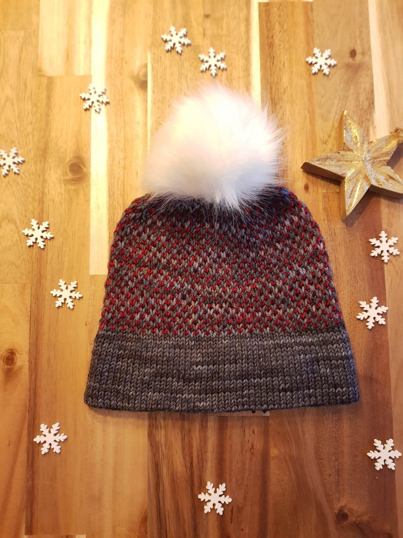 Knit Pattern  Double-brimmed slip stitch beanie  Two Tone image 0