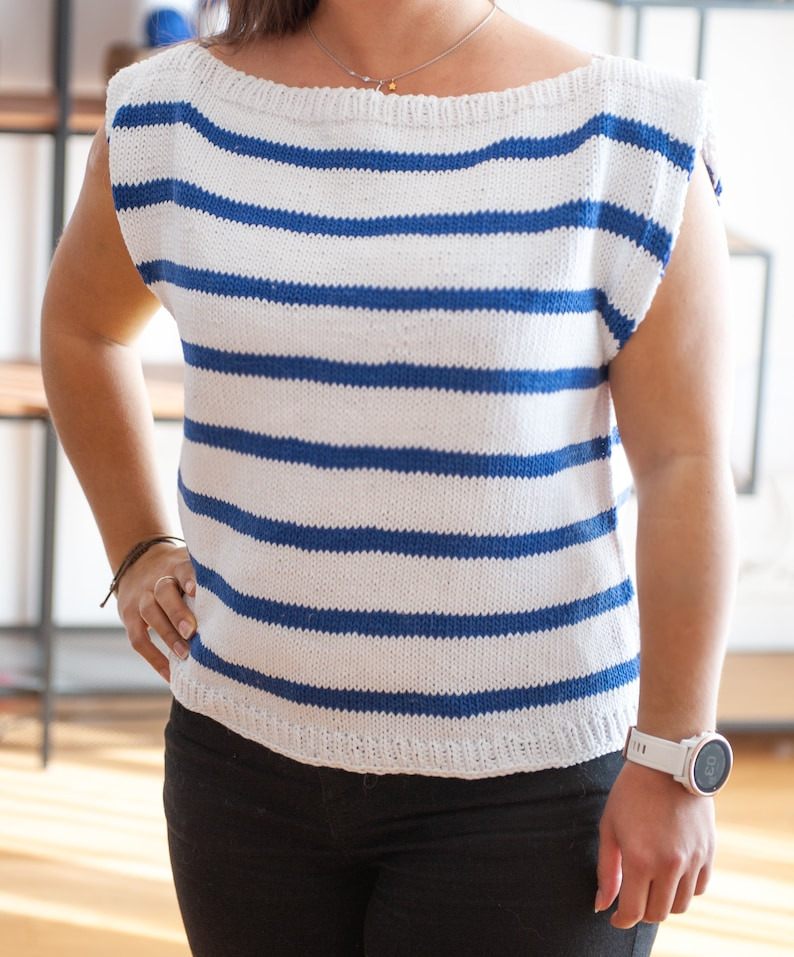 Knit Pattern  Simple striped t-shirt  Harbor Top  image 0