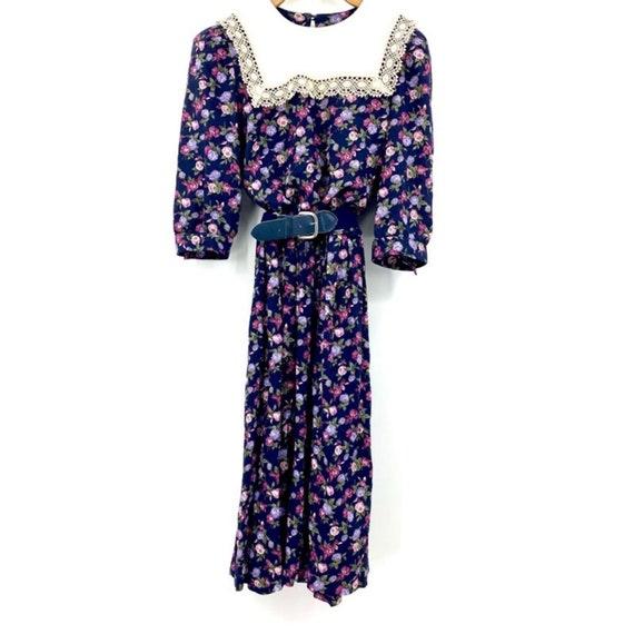 Vintage floral belted midi dress