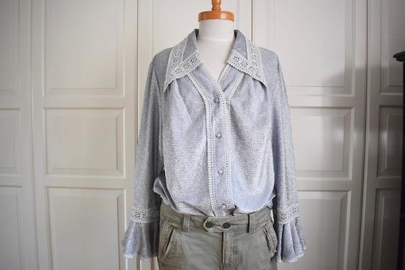 Vintage Lurex Blouse 60s/ 70s, Gr. L, 60s/ 70s Fas