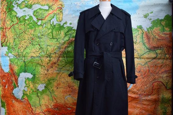 Black Vintage Trench Coat, 70s Trench Coat, Size M