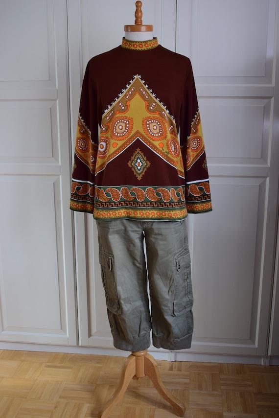 Stylish 70s Tunic, Tunic Brown/Orange, Size M/L Tr