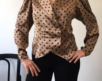 Vintage blouse shirt Golden Dots by tru size 38