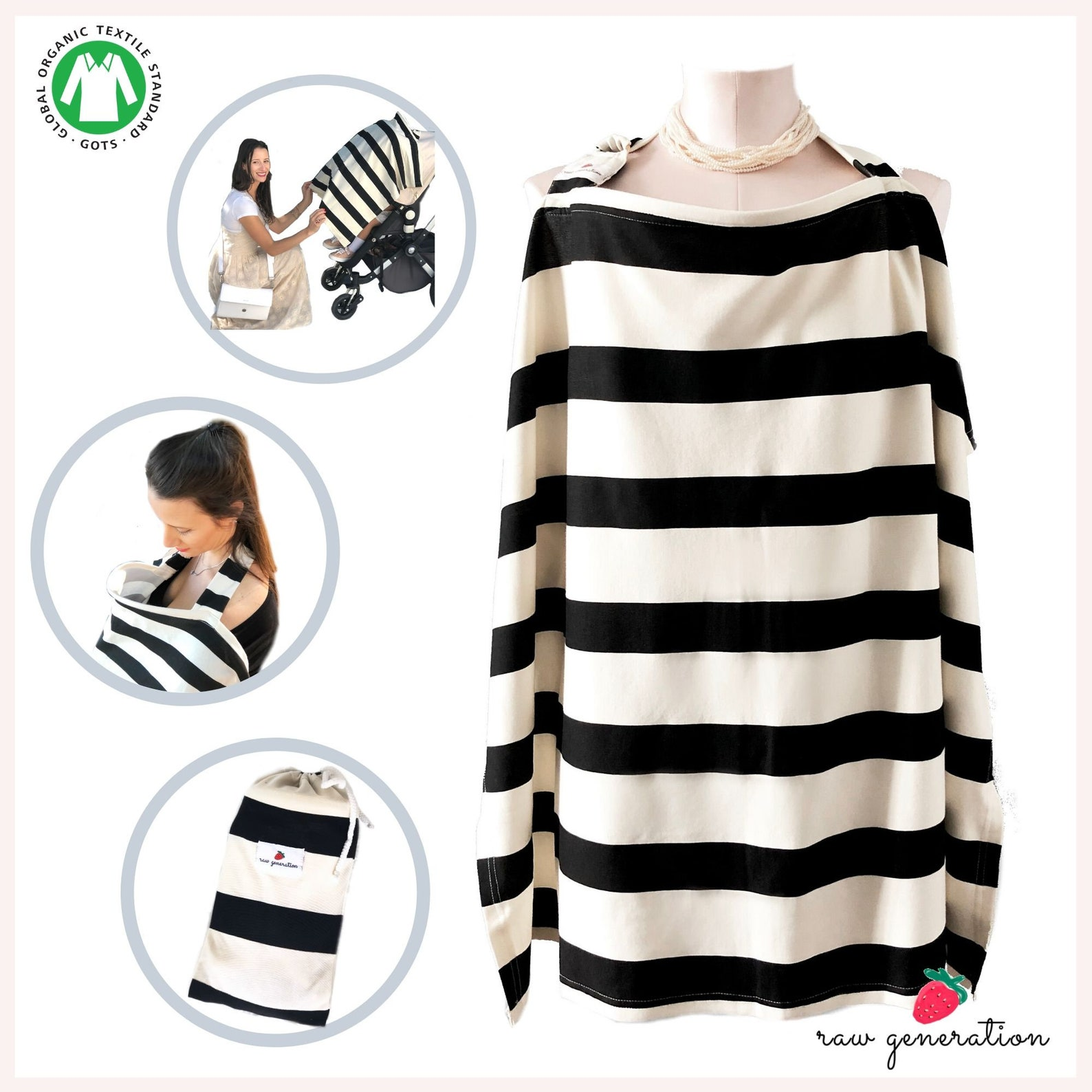 Nursing Cover for Breastfeeding  Elegant Black & Cream stripes  100 % Organic...