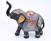elephant statue hand painted trunk up feng shui style home decor lucky animal figurine Wealth