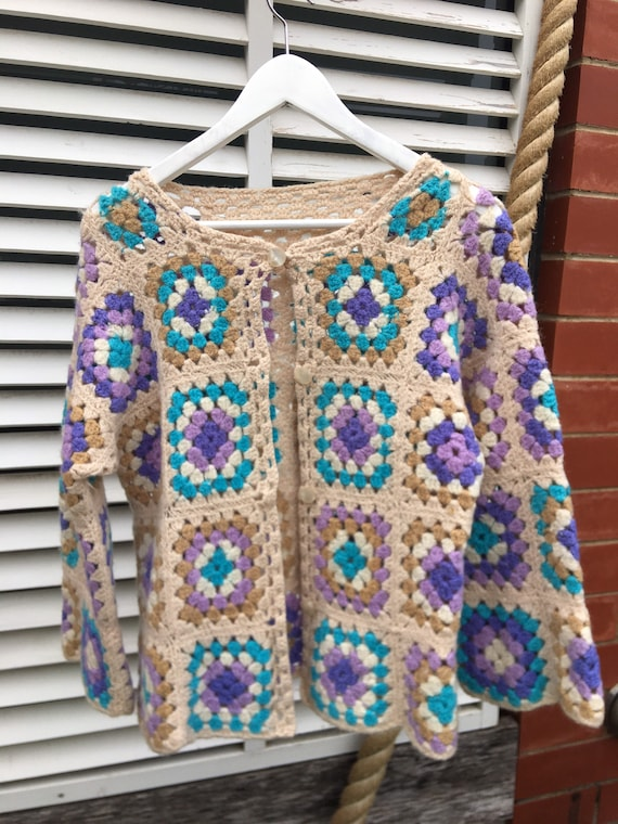 Knitted 1970's vintage granny square button up car