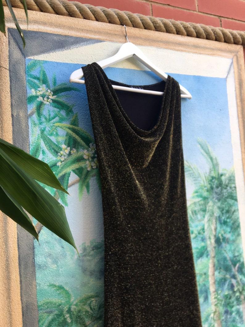 Gold sparkly vintage black 1990/'s flattering cocktail midi dress with elegant draped neckline by /'Wish/'  Women/'s AUS size 10-12