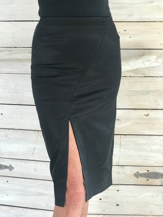Italian Stretch Satin Pencil Skirt