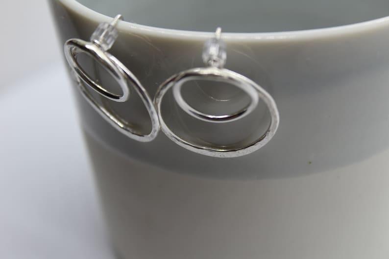 Silver Circle Jacket Earrings Gift Idea