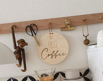 """Wooden sign """"But first Coffee"""""""
