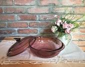 Vintage Pyrex cranberry glass dish with its lid. Vegetable, favorite dessert, mashed potatoes etc. VTG 70s