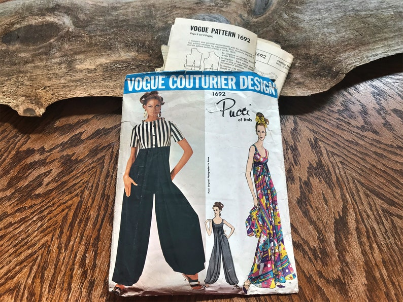 Cut size 10 Vogue couturier 1692 by Pucci of Italy All piece are in the envelope Emilio Pucci ORIGINAL pattern 1967 Jumpsuit with bolero