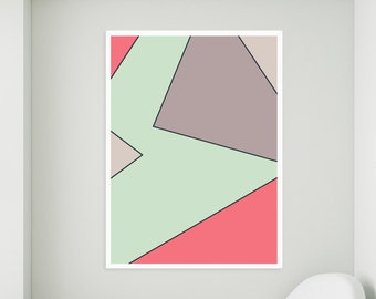 Modern Art Print with a Colorful Design   Printable Artwork to Brighten Your Home! Instant Download
