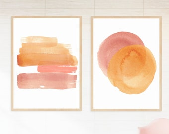 Abstract, Watercolor Art Print Set in Orange and Pink   Printable Wall Art to Brighten Any Space! Instant Download