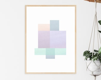 Pastel Art Print with a Geometric Design   Printable Home Decor to Brighten Any Space! Instant Download