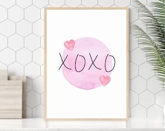 XOXO Art Print, Pink Hearts Wall Art, Valentine's Day Gift Idea, Heart Wall Decor, Instant Digital Download, Art Printable, Pink Decor