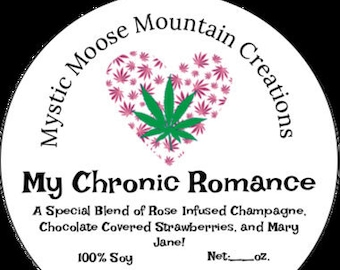 Essential Oil Rose Infused Champagne Cannabis My Chronic Romance Made in CO 8 oz. Marijuana Novelty Chocolate Covered Strawberries