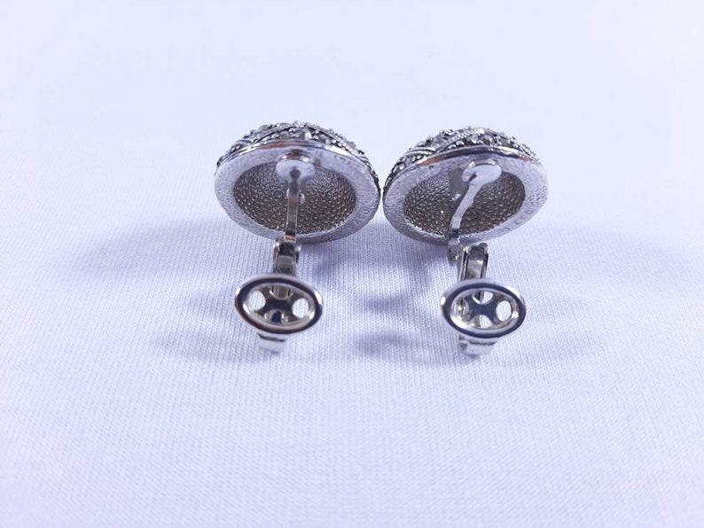 Vintage 1980/'s D/'Orlan Rhinestones Clip On Silver Plated Earrings