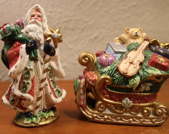 Fitz and Floyd Classic Florentine Santa Clause Shaker 1PC Orig Stopper T89