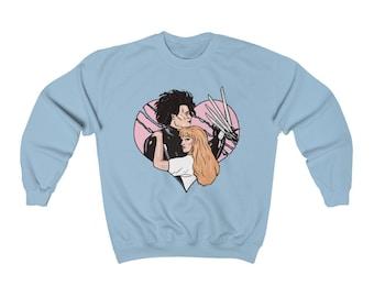 Edward Scissorhands sweatshirt, 80s vintage pastel sweatshirt, retro barbie sweatshirt