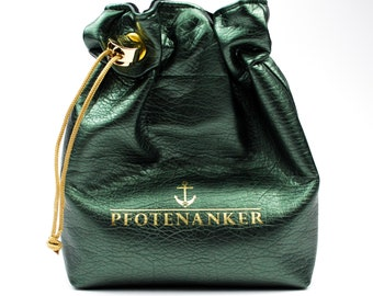 Treat bag for dogs with poop bag dispenser Dark Green Metallic