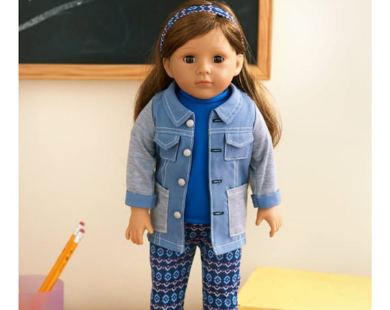 """18"""" Doll- Brunette Hair and pictured  outfit. Free Doll Stand with purchase of doll"""