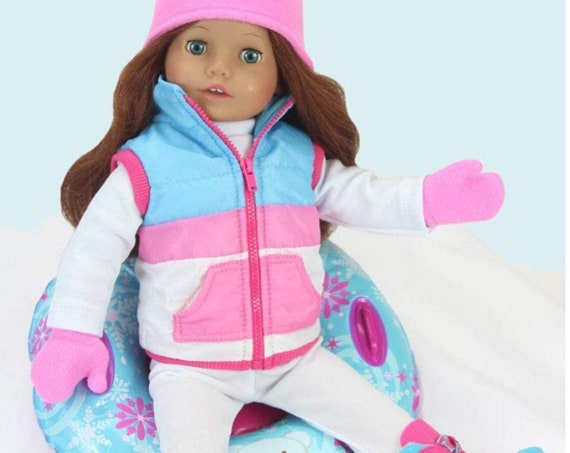 18 Inch Doll Clothes Winter Outfit Accessory 4 Pc. Set, Snow Tube Set Includes a Vest, Hat, & Mittens!