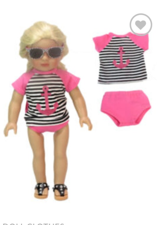Striped Anchor Bathing Suit #145- Made for 18 inch Dolls Such as American Girl Dolls