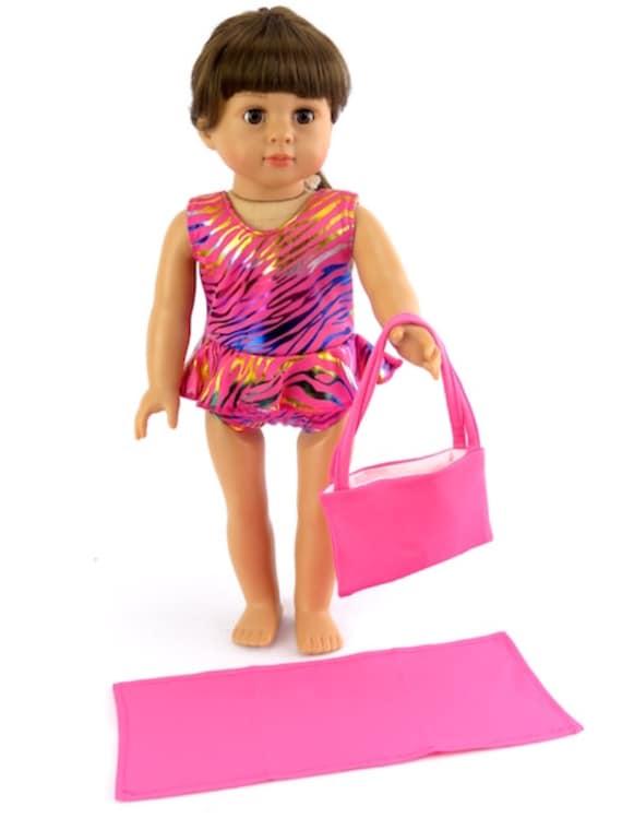 "Hot Pink Beach Bag and Beach Blanket #585- Fits 18"" Dolls"