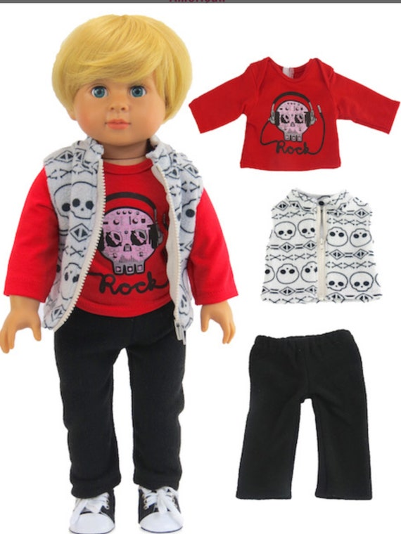 """Doll Skull Outfit for Boys #425- Fits 18"""" Dolls"""