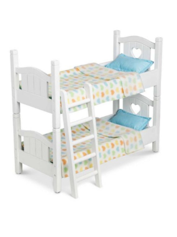 Melissa & Doug Mine to Love Wooden Play Bunk Bed for Dolls, Stuff Animals - White