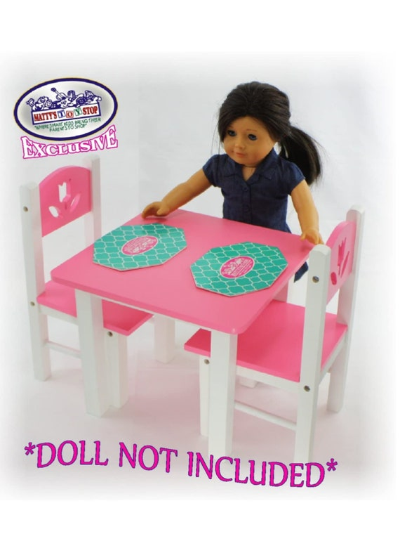 18 Inch Doll Furniture Pink/White Wooden Table and Chairs Set with Placemats (Floral Design) - Fits American Girl Dolls