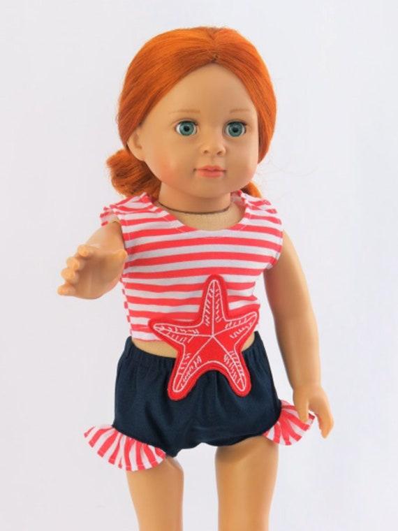 "Nautical Starfish Swimsuit #sw86/242 For 18"" Dolls"