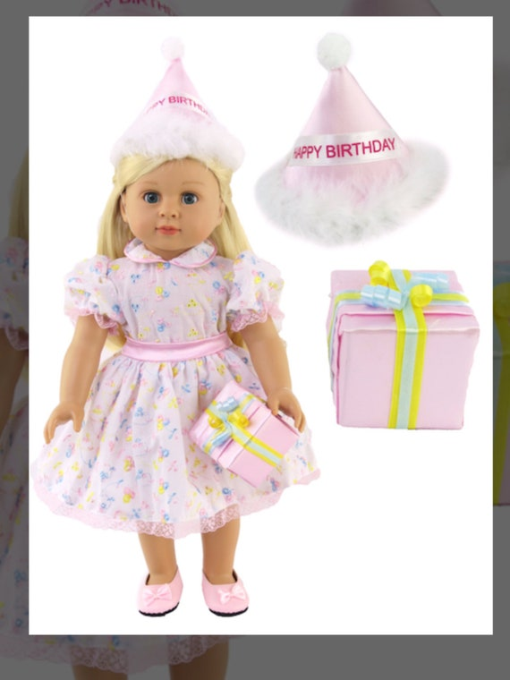 """Birthday Party Dress with Gift fits 18"""" Dolls"""