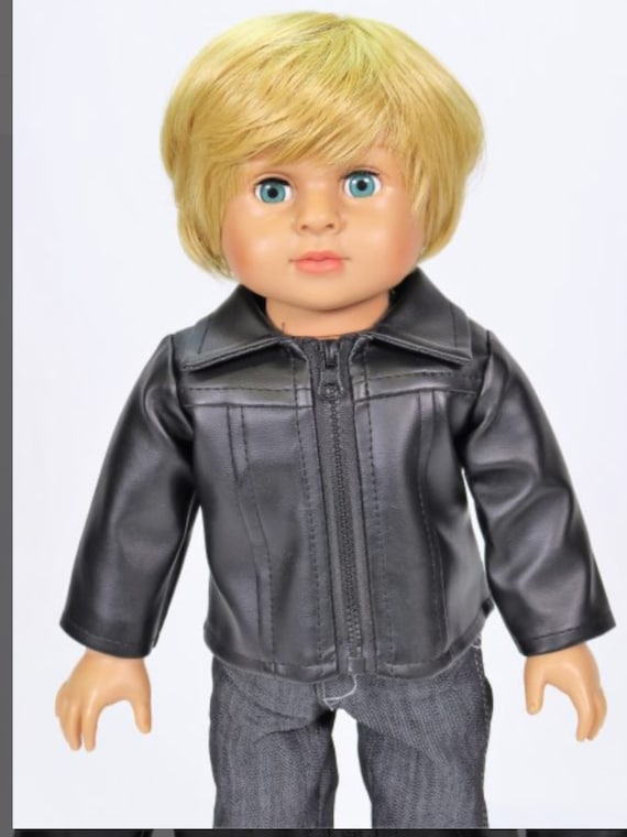 """Doll Black Leather Jacket - Fits 18"""" Doll #154"""