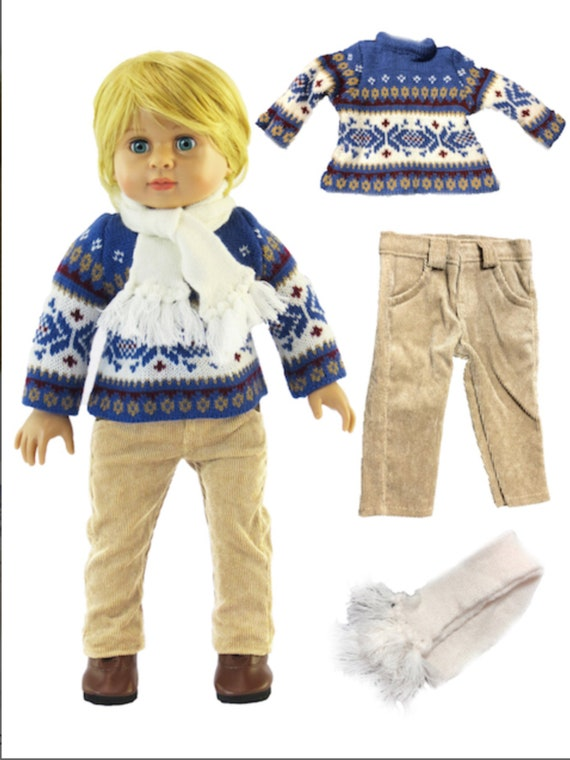 """Blue Knit Sweater Pant Set with Scarf #829- Fits 18"""" Dolls"""