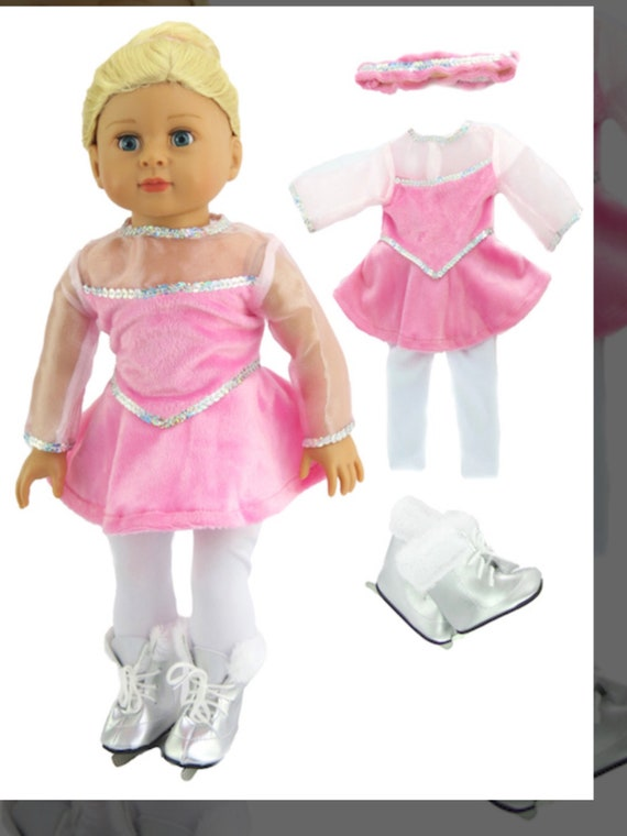 """Pink Little Figure Skater with Skates Doll Outfit- #311- 18"""" Dolls"""