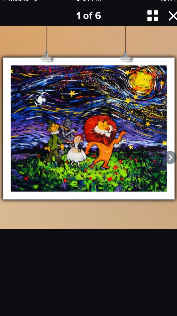 """HD Print Starry Night Lovely Cartoon Painting Wall Decor Art The Wizard of Oz on Canvas (No Frame) 16"""" by 20"""","""