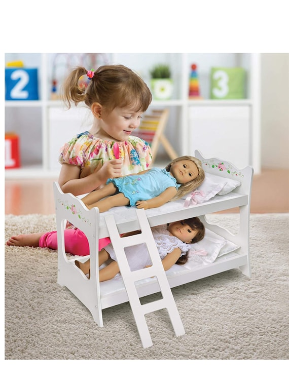 Badger Basket Doll Bunk Bed with Ladder and Bedding (fits American Girl Dolls), White/Pink/Green, 20 inch