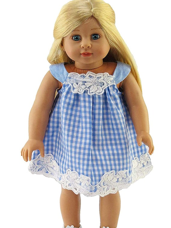 Blue and White Checkered Dress Made to fit 18 inch Dolls Such as American Girl Dolls