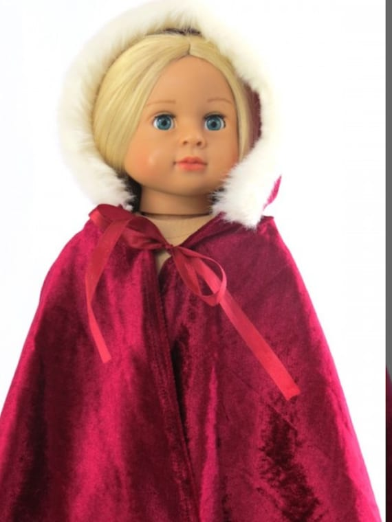 """Burgundy Winter Cape with Fur Trim 18"""" Doll  #555 only 133"""