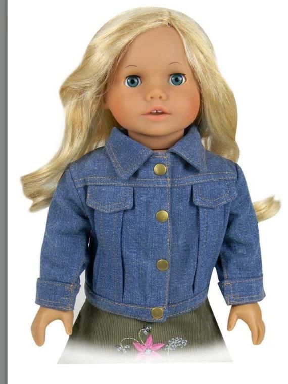 18 Inch Doll Clothes, Denim Doll Jacket Fits 18 Inch American Girl Dolls & More, Denim Doll Jean Jacket