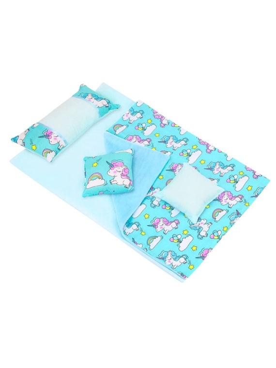 """5 Pcs -Unicorn Print Doll Bed Bedding Set - 1 Bed Sheet 1 Quilt 3 Pillows Fits My 18"""" Life Our Journey Generation Girls Dolls  Unicorn"""