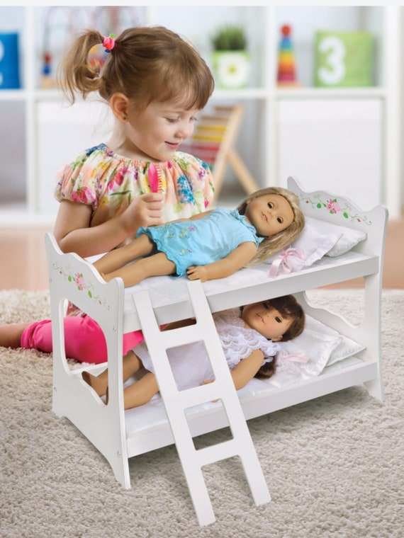 """Best Seller**Badger Basket Doll Bunk Bed with Ladder and Bedding - White Rose - Fits American Girl, My Life As & Most 18"""" Dolls"""