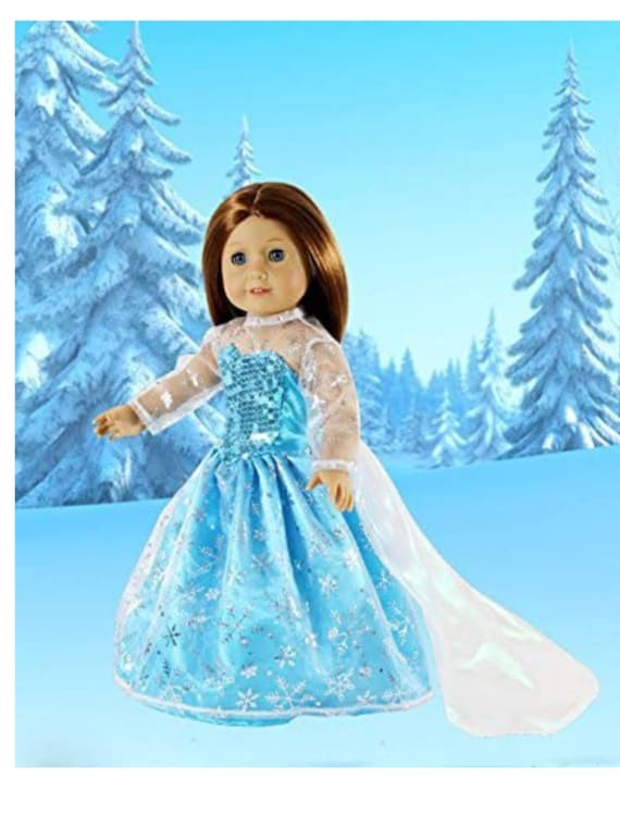 """Elsa Frozen Inspired Doll Outfit - Snowflake Queen Dress - Premium Handmade Clothes for American Girl & 18"""" Dolls -"""