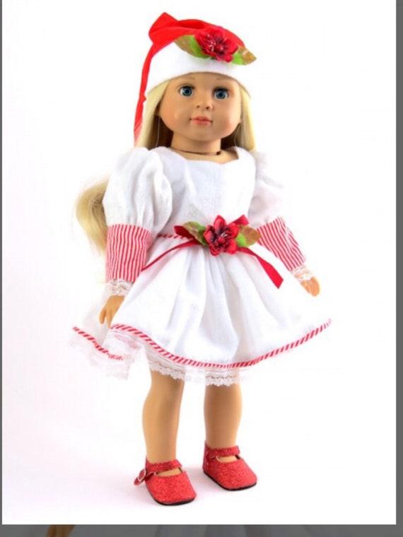 "White Christmas Stripe Doll Dress #571- Fits 18"" Dolls"