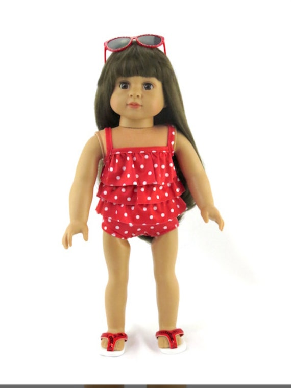 Red Polka Dot Bathing Suit #766- Made for 18 inch Dolls Such as American Girl Dolls